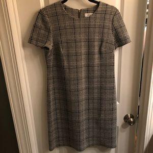 Plaid A-line Short Sleeved Dress